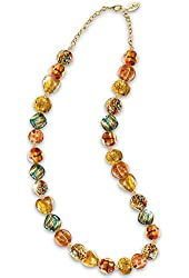 24k Gold Plated Thomas Kinkade Colors of Venice Murano-style Glass Necklace By the Bradford Exchange