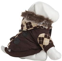 Designer Patterned Suede Argyle Sweater Pet Jacket, Small, Brown