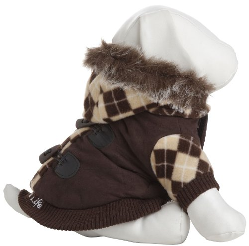Pet Life Designer Patterned Sweat Jacket with Removable Hood in Brown – Small, My Pet Supplies