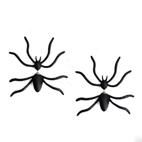CiCy 3 Pair Trendy Halloween Fashion Black Spider Earrings Punk Unisex (Spider Woman Halloween Make Up)