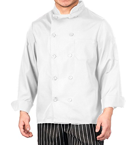 White Lightweight Long Sleeve Chef Coat, 3XL