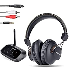 2019 New Asante HT5009 long range Wireless TV Headphones with Bluetooth transmitter (Optical RCA aux), TV watching with headset & wired speakers simultaneously, plug & Play, No delay, 40hrs battery