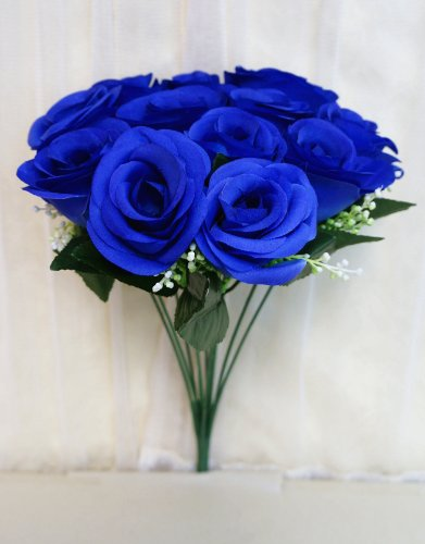 Sweet Home Deco 14'' One Dozen Sweet Roses Silk Artificial Bouquet Blue (12 Stem/12 Flower Heads)(valentine's Day/wedding/home Decorations) (Blue Fake Flowers)