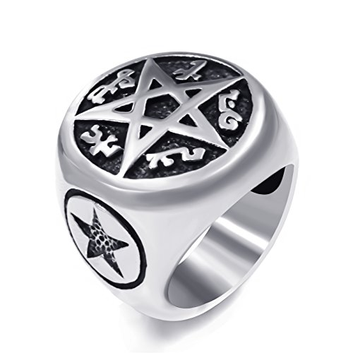 Elfasio Men's Pentacle Pentagram Rune Star Magic Casting Stainless Steel Wiccan Biker Ring