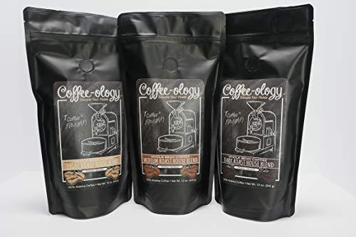 Coffee-ology Variety Pak, Light, Medium, Dark Roast House Blend, Whole Bean,36 Ounce
