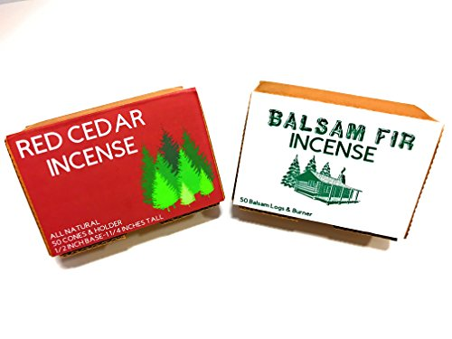 J & D's Everyday Needs Balsam Fir and Cedar Incense Cones with Holder Bundle