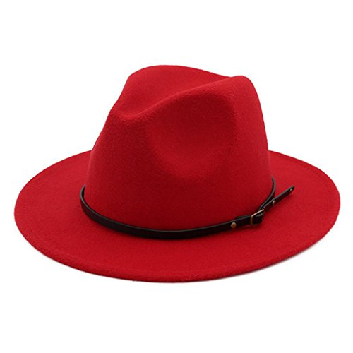 Classic Red Felt Hat - Lisianthus Women Belt Buckle Fedora Hat Red