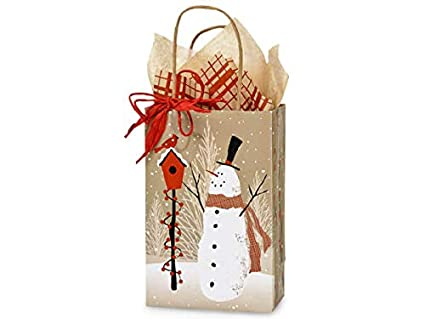 Navidad Bolsas de regalo - Rosa bosque muñeco de nieve 100 ...
