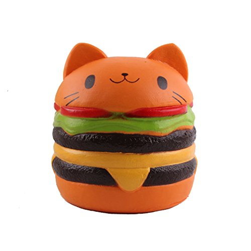Viccent 1Pcs Jumbo Slow Rising Squishy Kawaii Cat Hamburger Bread Food Stress Relief Toys Lovely Kids Toy Decorative Props Hand Pillows