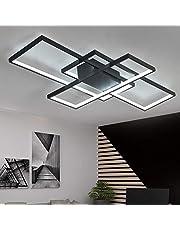 Lampa LED do salonu, nowoczesna, designerska lampa sufitowa, przyciemniana, z pilotem zdalnego sterowania, lampa do sypialni, kuchni, sufitowa, prostokątna, akrylowa klosz, lampa do korytarza, jadalni, jako dekoracja mieszkania