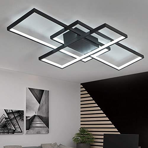 Lámpara de Techo Moderna LED Regulable Plafón para sala de Estar Lámpara Acrílico De 3 Rectangular De Diseño Dormitorio…