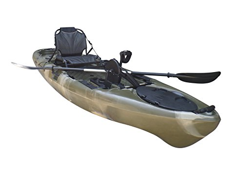 BKC UH-PK11 Pedal Drive Solo Rover 10-Foot 6-Inch Solo Kayak Propeller-Driven Sit On Top Single Fishing Kayak with Pedal Drive, Rudder System, Paddle, and Seat Included (Green Camo)