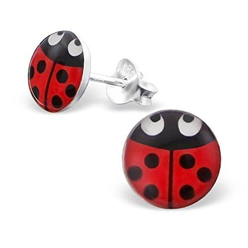 Ladybug Earrings Posts Studs 925 Stering Silver Girls Logo Round Shape (E19709)