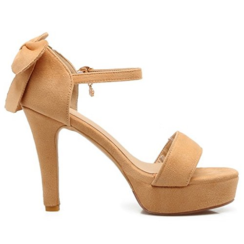 Coolcept Women Fashion Ankle Strap Sandals Open Toe Platform Block Heel Shoes with Bow Yellow 8n7es0h