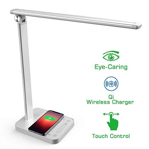 NAPATEK Lámpara Escritorio LED, Lámpara De Mesa Para Cuidado De Los Ojos Con Cargador Inalámbrico, Aleación De Aluminio…