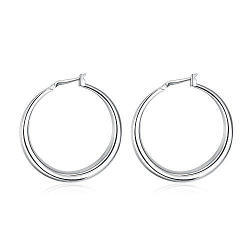 Pierced Charm Basketball 10k - SDLM Womens Fashion Jewellery Stainless Steel Rounded Hoop Earrings(1.33