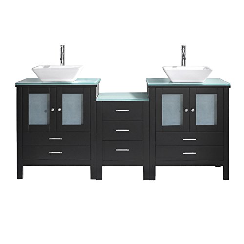 Virtu USA MD-4472-G-ES-001 Brentford 72'' Double Bathroom Vanity with Aqua Tempered Glass Top and Square Sink with Brushed Nickel Faucet and Mirror, Espresso by Virtu USA