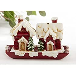 Delton Products Christmas House Salt and Pepper Shaker Set with Tray, White