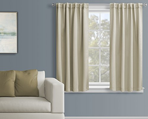 Luxury Homes 52-Inch-by-63-Inch Thermal Insulated Window Blackout Curtains with Matching Tiebacks, Set of 2 panels, Beige (Insulated Sound compare prices)