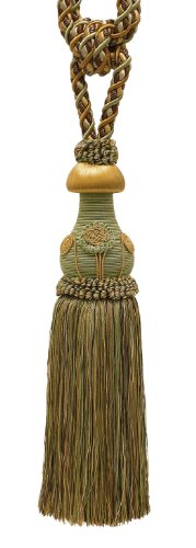 "Decorative BROWN GOLD Curtain & Drapery Tassel Tieback /12"" tassel, 32"" Spread (embrace), 7/16"" Cord, Baroque Collection Style# TBBL-1 Color: GOLDEN CHESTNUT - Color Gold Brown"