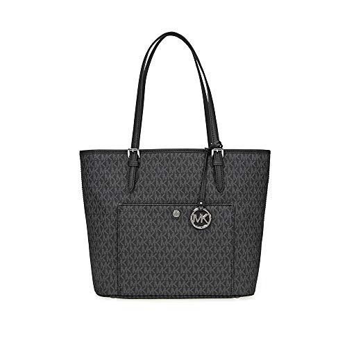 (Michael Kors Jet Set Signature Tote - Black)