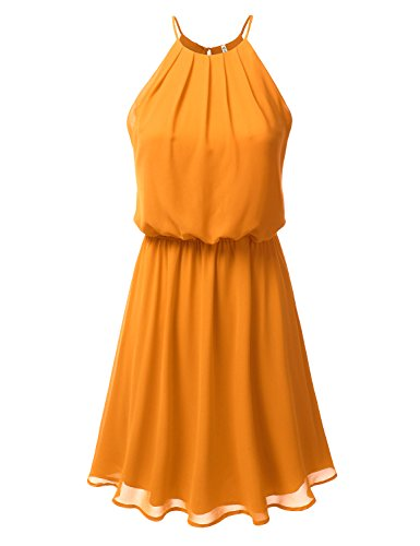 DRESSIS Womens Double Layered Chiffon Mini Tank Dress Mustard 3XL (For Formal Teens Dresses Semi)