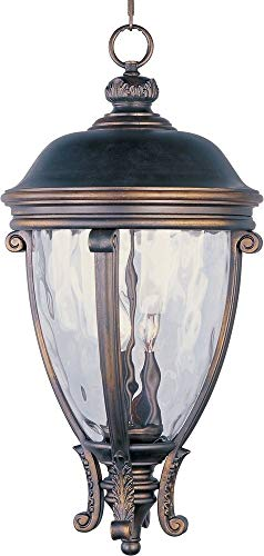 Maxim Lighting 41429WGGO Three Light Water Glass Hanging Lantern, Golden Bronze