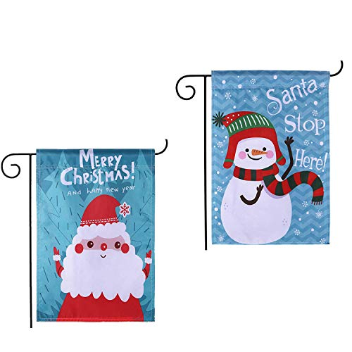 DOYOLLA Christmas Garden Flags 12 x 18 inch Double Sided Decorative Winter Holiday Welcome Yard Sign - Santa Stop Here & Merry Christmas