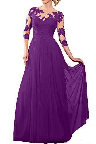 Brautmutterkleider Abendkleider Partykleider Bodenlang Chiffon Langarm Glamour Marie Braut Rock Spitze Violett Rot La q8OBZ