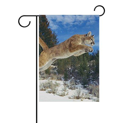 "LEISISI Jumping Cougar Garden flag 28""X40"" Two Sided Yard De"