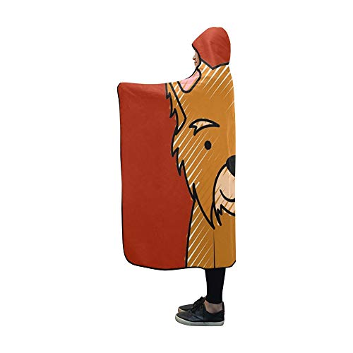 YUMOING Hooded Blanket Cute Dog Mascot Icon Blanket 60x50 Inch Comfotable Hooded Throw Wrap