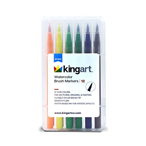KINGART 410-12 12 Piece Watercolor Brush Markers, One Size, Vivid Colors