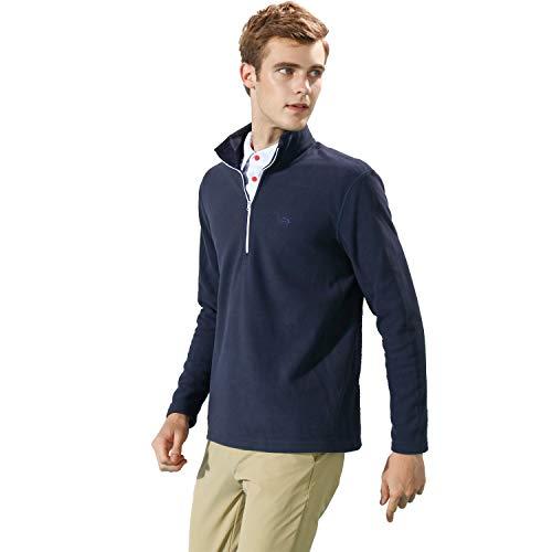 Neck Shirt Fleece Zip (EAGEGOF Mens Long Sleeve Mock Turtleneck Fleece Shirt 1/4 Zip Pullover Casual Hoodies (Navy Blue, XL))