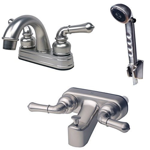 Laguna Brass 2001BN/3210BN/4120BN RV Bathroom and Tub Faucet with Matching Hand Shower Combo Brushed Nickel Finish ()