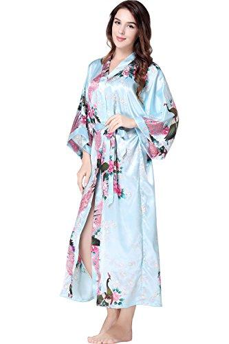 ArtiDeco Vestido Kimono Pijama de Seda Novia Kimono de Seda Ropa de dormir de Satén Estampado Pavo Real Azul Claro