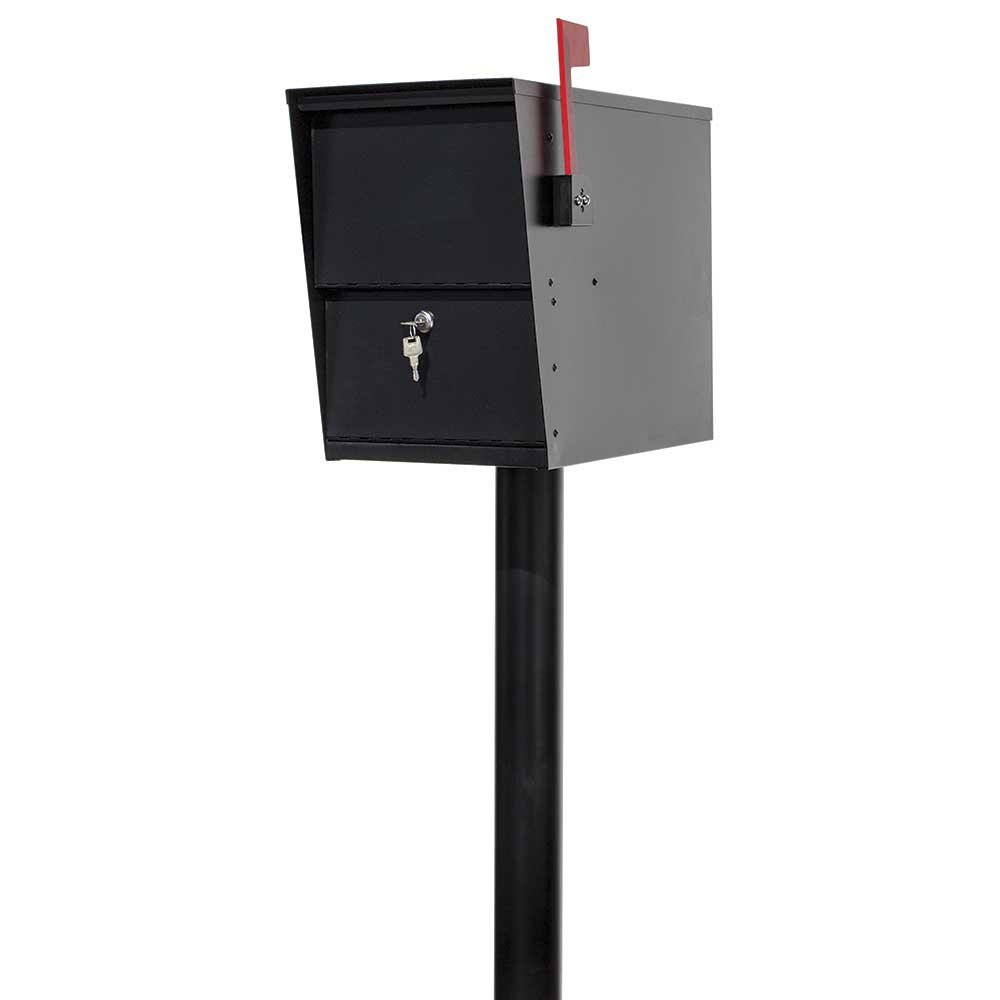 LSLM-2000-PST Lettersentry Rust Free Galvanized Steel Locking Mailbox with 3'' Diameter Mounting Post, Ships in 2 Boxes, Black