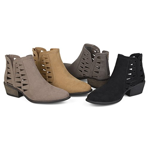 Brinley Co. Womens Side Slit Cut-Out Faux Suede Booties