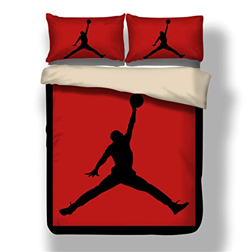 ZI TENG New 3D Print Basketball Duvet Cover Student Kids Basketball Bedding Set 3PC Boys and Teenagers Bed Set1Duvet Cover,2Pillowcases,Twin Full Queen King Size (Jordan Bedding)