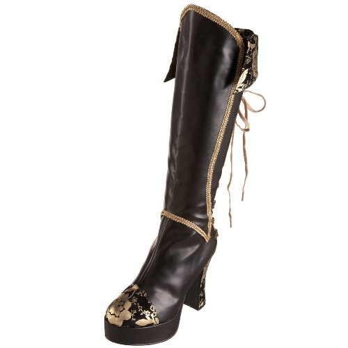 Funtasma by Pleaser Women's Exotica-2030 Knee High Boot Black/Gold Pu jyjyY