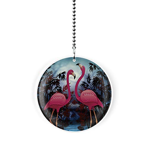 Moonlit Flamingos Fan/Light Pull