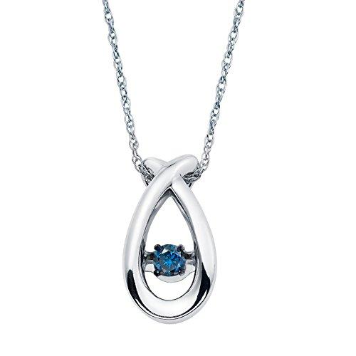 (925 Sterling Silver Dancing Blue Diamond Dainty Teardrop Pendant Necklace, 18