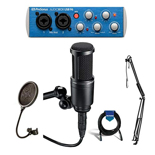 Audio-Technica AT2020 Cardioid Condenser Studio Microphone, PreSonus AudioBox Interface USB 96 2x2with XLR Cable, Studio Boom Arm Stand and Pop Filter