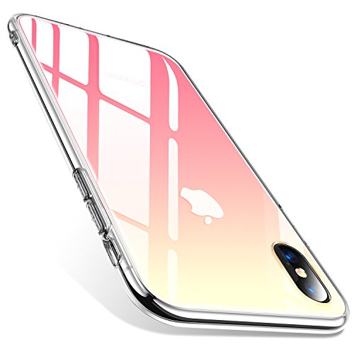 TORRAS iPhone X Case, Fantasy Series Unique Clear Gradient Thinnest Tempered Glass Back Cover [Enjoy Original Glass Tactile] Silicone TPU Bumper Compatible with iPhone X, Pink