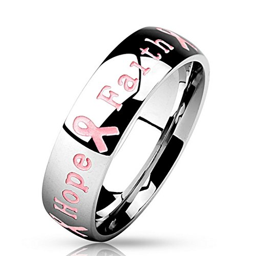 Bague Courage Strength Hope Faith en acier inoxydable 316L