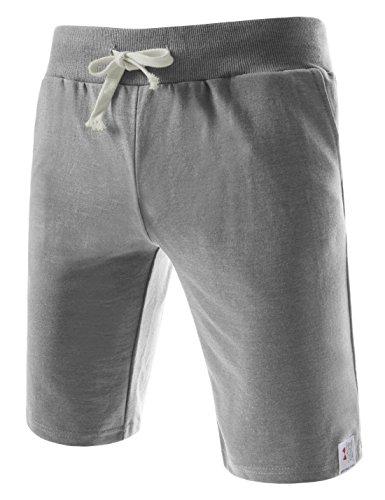 (TTS01) Unisex Cotton Jersey Waist Elastic Jogger Training Beach Board Shorts GRAY X-Large(US 31~33)