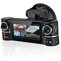 inDigi NEW! 2.7 TFT LCD DashCam Dual Camera Rotated Lens Car DVR Recorder AKA BlackBox