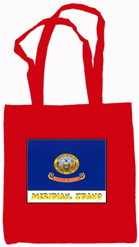 (Meridian Idaho Souvenir Canvas Tote Bag Red)