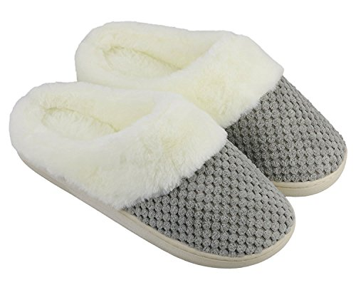 Lifekit Women's Memory Foam Slippers Soft Faux Fur Lined Indoor House Slippers w/Anti-Skid Rubber Sole (Large/8-9 B(M) US, Grey)