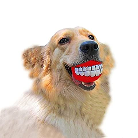 Dog squeaky toy-funny and cute bucktooth dog toy squeaker ball for medium/large dogs (Laughing Dog Ball)