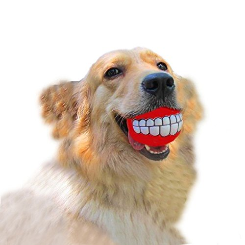 Dog squeaky toy-funny and cute bucktooth dog toy squeaker ball for medium/large dogs